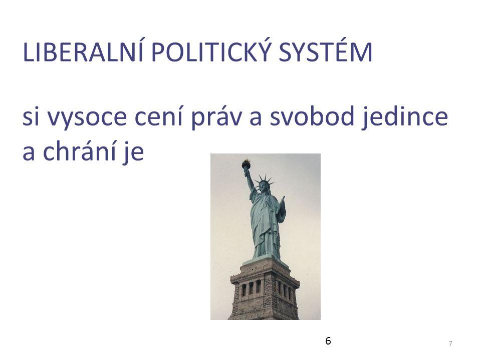 7 LIBERALNÍ POLITICKÝ SYSTÉM si vysoce cení práv a svobod jedince a chrání je 6