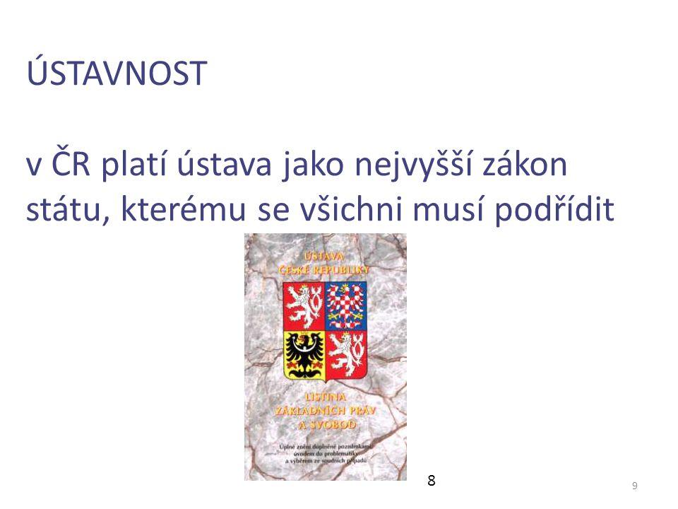 9 ÚSTAVNOST v ČR platí ústava jako nejvyšší zákon státu, kterému se všichni musí podřídit 8
