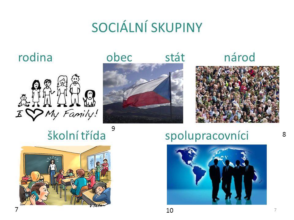 Členění sociálních skupin 8 malé (rodina)velké (národ) otevřené (zájmový kroužek)uzavřené (sekta) dobrovolné členstvípřikázané členství