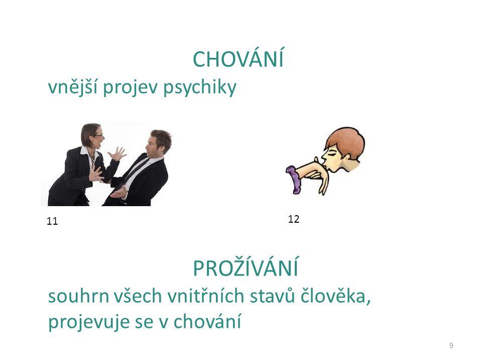 9 CHOVÁNÍ vnější projev psychiky PROŽÍVÁNÍ souhrn všech vnitřních stavů člověka, projevuje se v chování 11 12