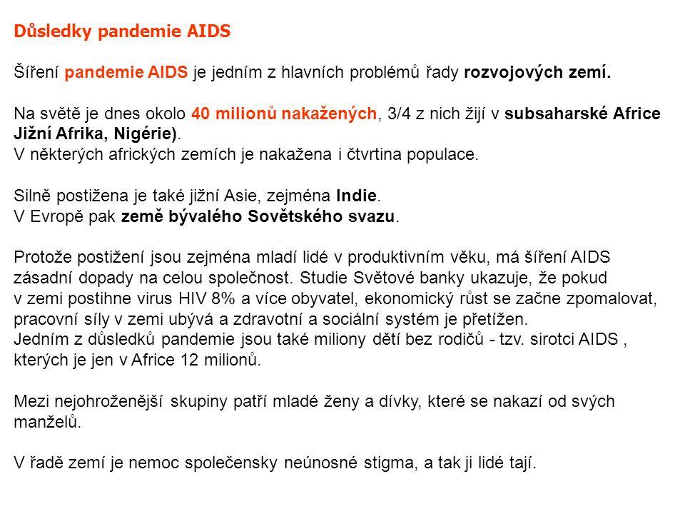 Důsledky pandemie AIDS Šíření pandemie AIDS je jedním z hlavních problémů řady rozvojových zemí. Na světě je dnes okolo 40 milionů nakažených, 3/4 z n