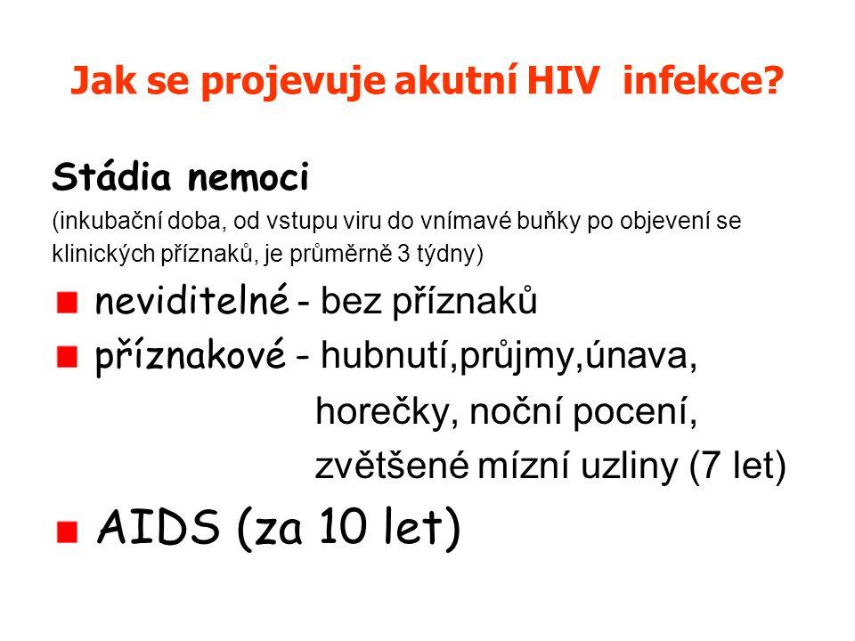 HIV – Human Immunodeficiency Virus = virus způsobující ztrátu obranyschopnosti u člověka – napadá bílé krvinky, v nich se množí a později je i zabíjí→ snižuje jejich počet, selhání imunity → onemocnění