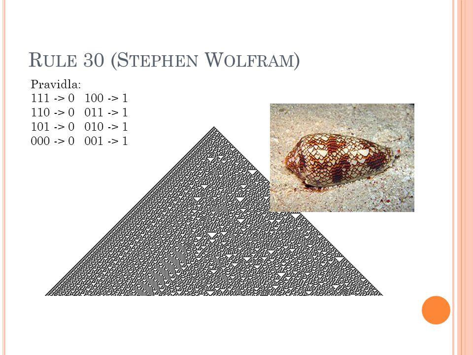 R ULE 30 (S TEPHEN W OLFRAM ) Pravidla: 111 -> 0 100 -> 1 110 -> 0 011 -> 1 101 -> 0 010 -> 1 000 -> 0 001 -> 1
