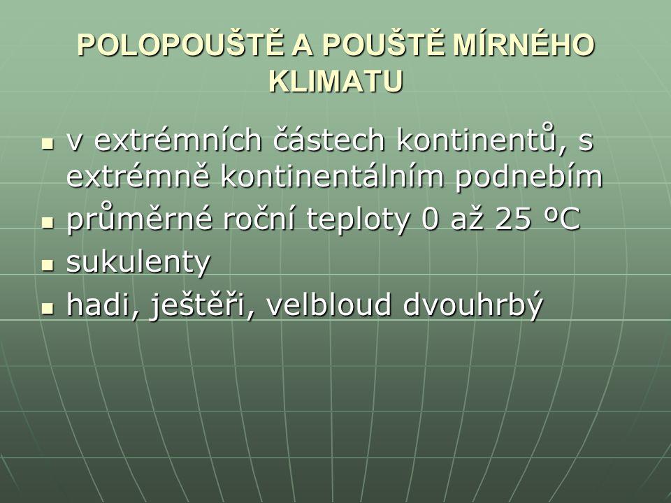 POLOPOUŠTĚ A POUŠTĚ MÍRNÉHO KLIMATU v extrémních částech kontinentů, s extrémně kontinentálním podnebím v extrémních částech kontinentů, s extrémně ko