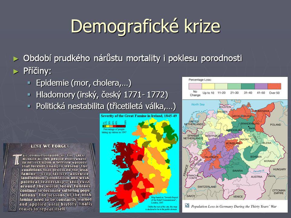 Demografické krize ► Období prudkého nárůstu mortality i poklesu porodnosti ► Příčiny:  Epidemie (mor, cholera,…)  Hladomory (irský, český 1771- 177