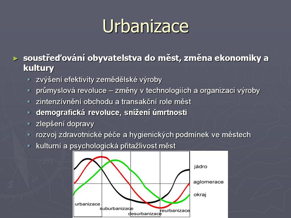 Urbanizace ► soustřeďování obyvatelstva do měst, změna ekonomiky a kultury  zvýšení efektivity zemědělské výroby  průmyslová revoluce – změny v tech