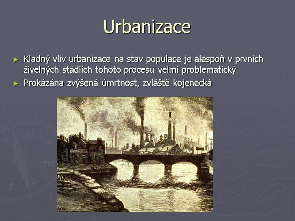 Urbanizace ► Kladný vliv urbanizace na stav populace je alespoň v prvních živelných stádiích tohoto procesu velmi problematický ► Prokázána zvýšená úm