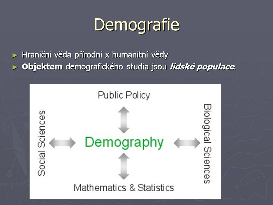 Demografie ► Hraniční věda přírodní x humanitní vědy ► Objektem demografického studia jsou lidské populace.