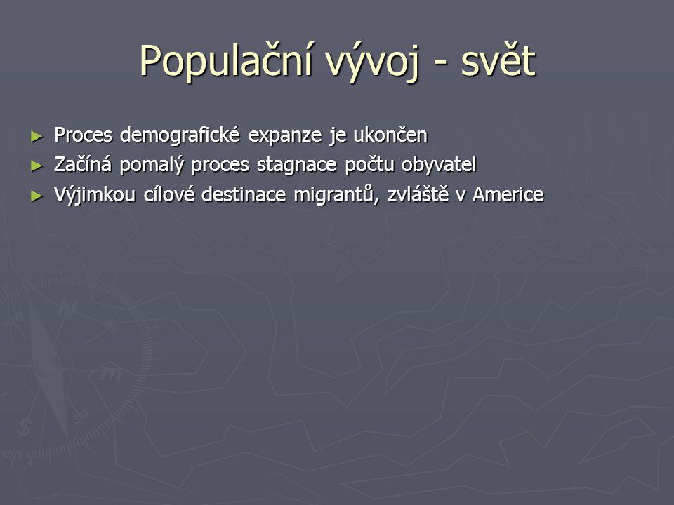 Populační vývoj - svět ► Proces demografické expanze je ukončen ► Začíná pomalý proces stagnace počtu obyvatel ► Výjimkou cílové destinace migrantů, z
