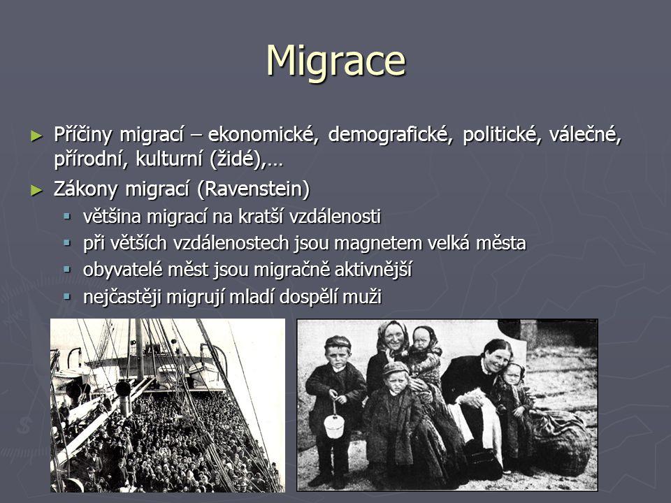 Migrace ► Příčiny migrací – ekonomické, demografické, politické, válečné, přírodní, kulturní (židé),… ► Zákony migrací (Ravenstein)  většina migrací