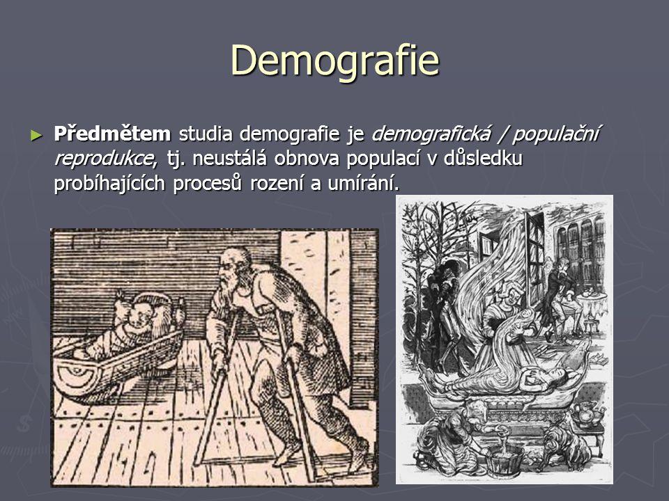 Demografie ► Předmětem studia demografie je demografická / populační reprodukce, tj. neustálá obnova populací v důsledku probíhajících procesů rození