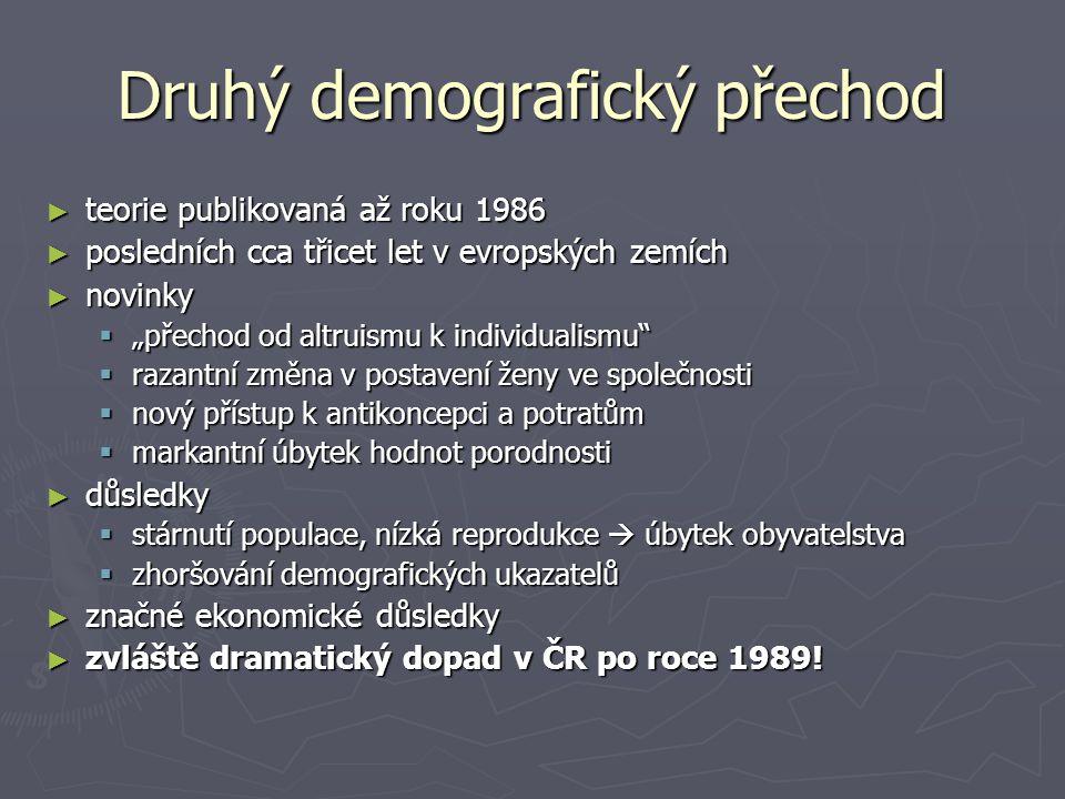 """Druhý demografický přechod ► teorie publikovaná až roku 1986 ► posledních cca třicet let v evropských zemích ► novinky  """"přechod od altruismu k indiv"""