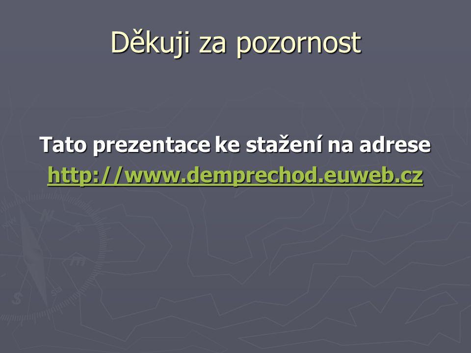 Děkuji za pozornost Tato prezentace ke stažení na adrese http://www.demprechod.euweb.cz