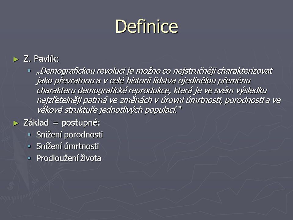 """Definice ► Z. Pavlík:  """"Demografickou revoluci je možno co nejstručněji charakterizovat jako převratnou a v celé historii lidstva ojedinělou přeměnu"""