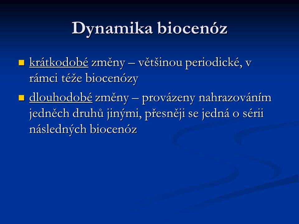 Dynamika biocenóz krátkodobé změny – většinou periodické, v rámci téže biocenózy krátkodobé změny – většinou periodické, v rámci téže biocenózy dlouho