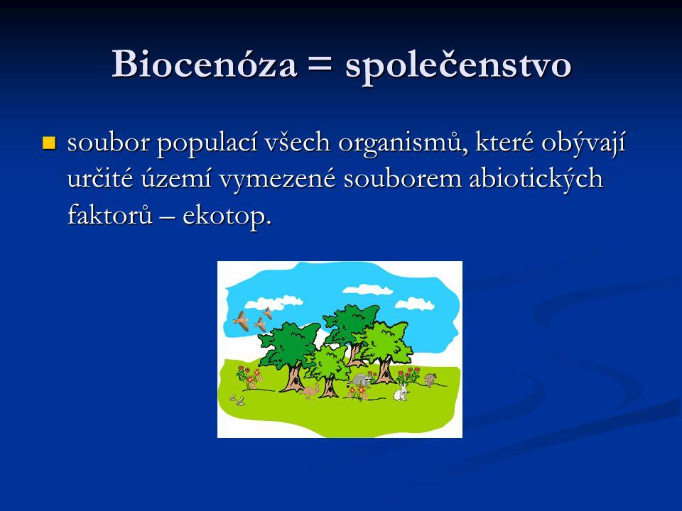 Biocenóza = společenstvo soubor populací všech organismů, které obývají určité území vymezené souborem abiotických faktorů – ekotop. soubor populací v