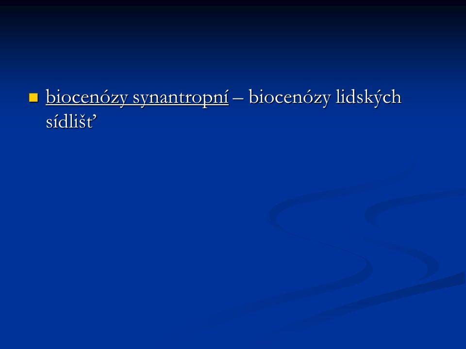 biocenózy synantropní – biocenózy lidských sídlišť biocenózy synantropní – biocenózy lidských sídlišť