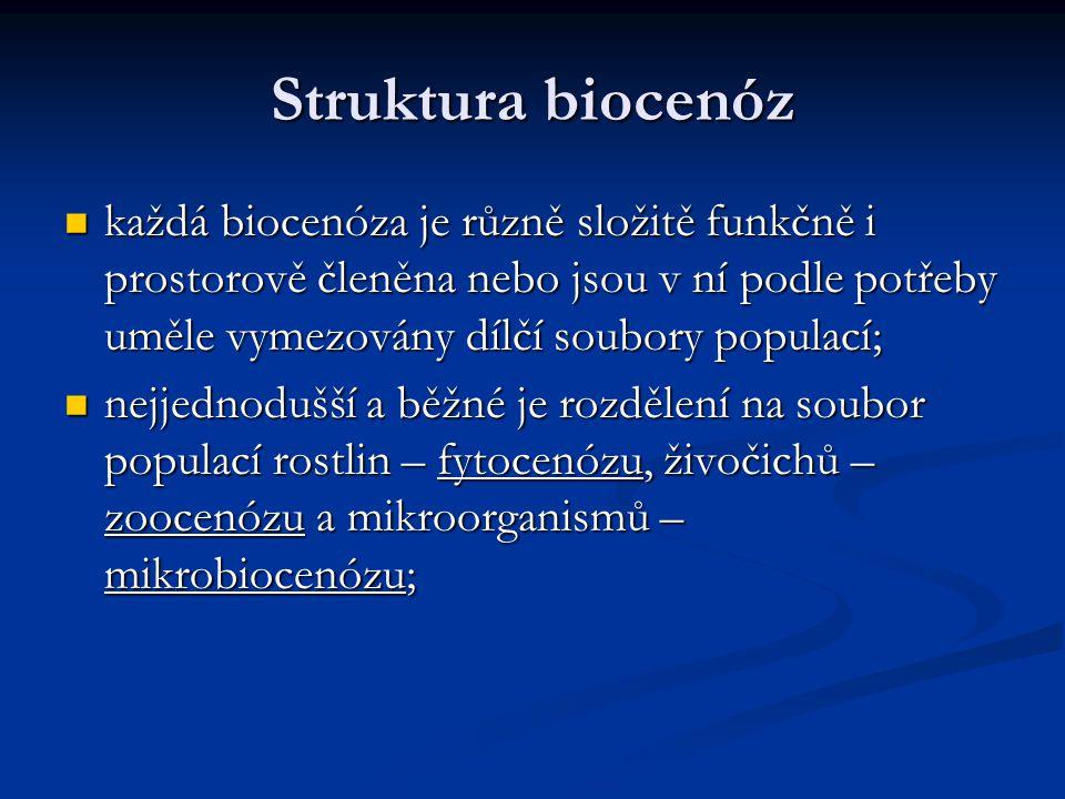 Struktura biocenóz každá biocenóza je různě složitě funkčně i prostorově členěna nebo jsou v ní podle potřeby uměle vymezovány dílčí soubory populací;