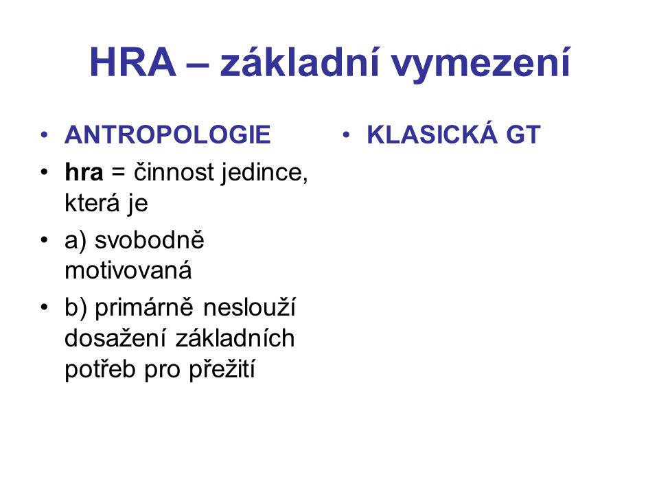 HRA – základní vymezení ANTROPOLOGIE hra = činnost jedince, která je a) svobodně motivovaná b) primárně neslouží dosažení základních potřeb pro přežití KLASICKÁ GT