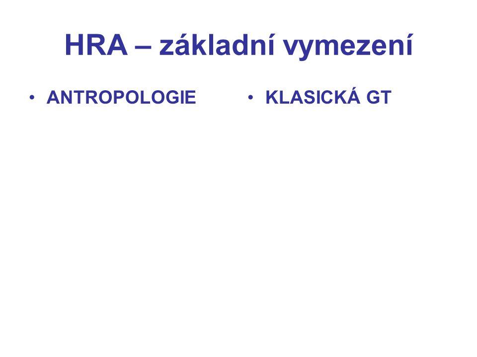 HRA – základní vymezení ANTROPOLOGIEKLASICKÁ GT