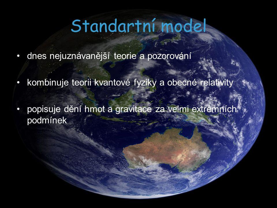 Standartní model dnes nejuznávanější teorie a pozorování kombinuje teorii kvantové fyziky a obecné relativity popisuje dění hmot a gravitace za velmi