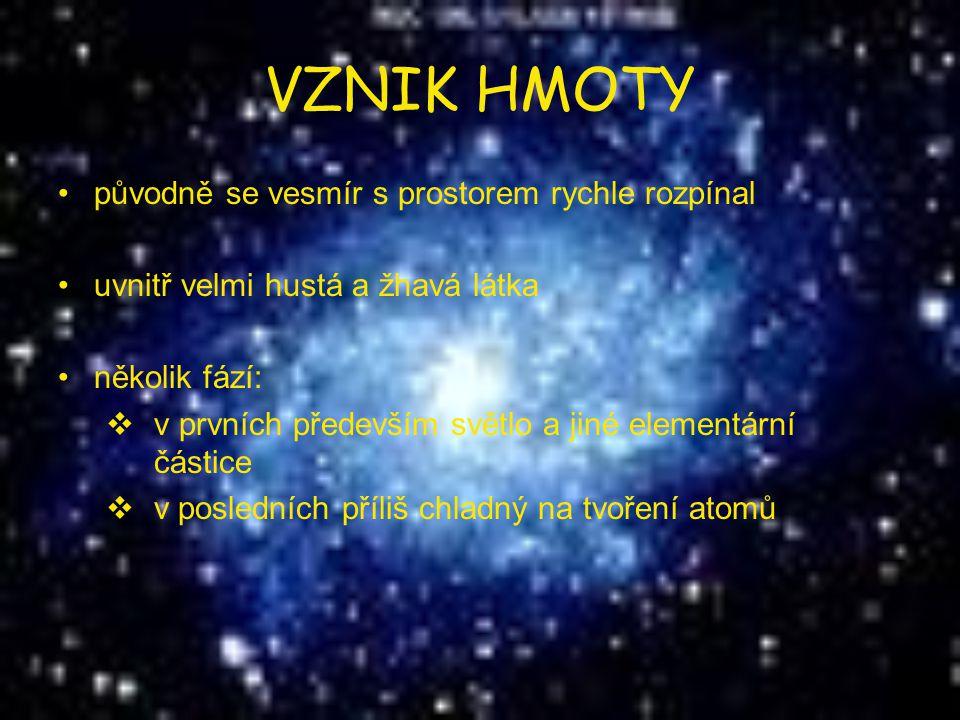VZNIK HMOTY původně se vesmír s prostorem rychle rozpínal uvnitř velmi hustá a žhavá látka několik fází:  v prvních především světlo a jiné elementár