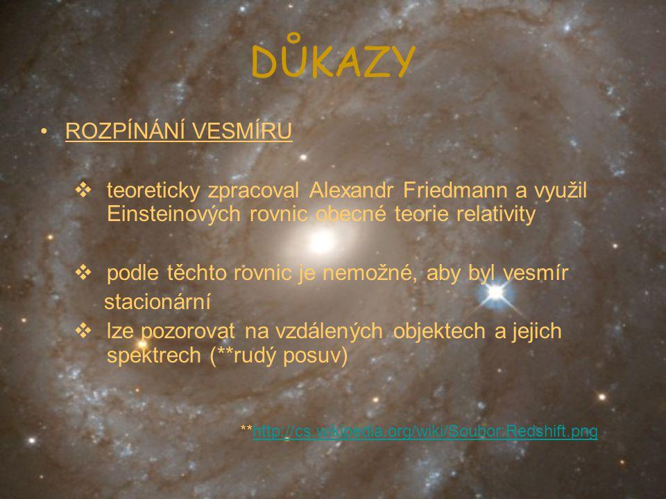 DŮKAZY ROZPÍNÁNÍ VESMÍRU  teoreticky zpracoval Alexandr Friedmann a využil Einsteinových rovnic obecné teorie relativity  podle těchto rovnic je nem