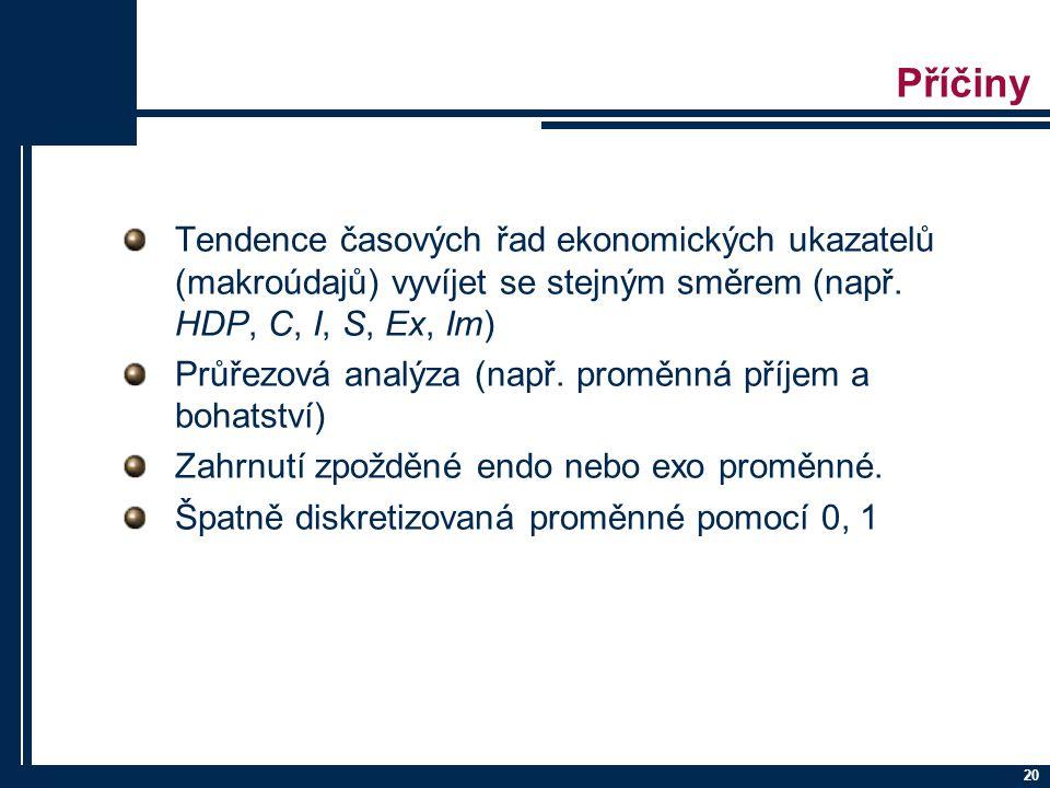 20 Příčiny Tendence časových řad ekonomických ukazatelů (makroúdajů) vyvíjet se stejným směrem (např. HDP, C, I, S, Ex, Im) Průřezová analýza (např. p