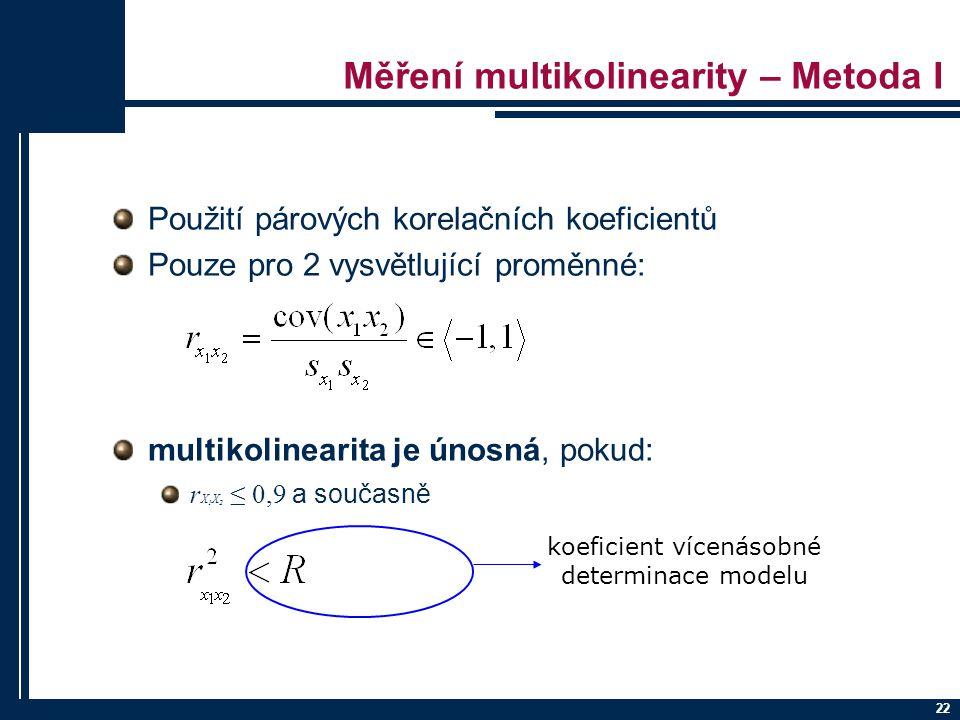 22 Měření multikolinearity – Metoda I Použití párových korelačních koeficientů Pouze pro 2 vysvětlující proměnné: multikolinearita je únosná, pokud: r