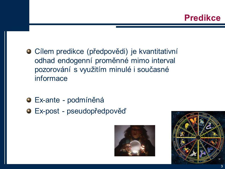3 Predikce Cílem predikce (předpovědi) je kvantitativní odhad endogenní proměnné mimo interval pozorování s využitím minulé i současné informace Ex-an