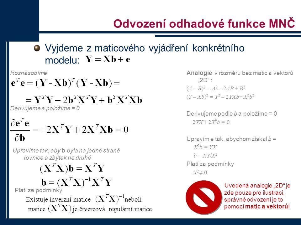 """Odvození odhadové funkce MNČ Vyjdeme z maticového vyjádření konkrétního modelu: Analogie v rozměru bez matic a vektorů """"2D"""" : (A – B) 2 = A 2 – 2AB +"""