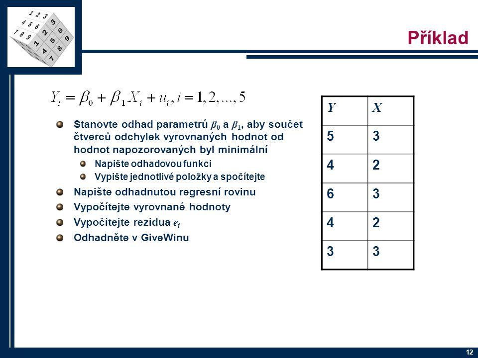 12 Příklad Stanovte odhad parametrů β 0 a β 1, aby součet čtverců odchylek vyrovnaných hodnot od hodnot napozorovaných byl minimální Napište odhadovou