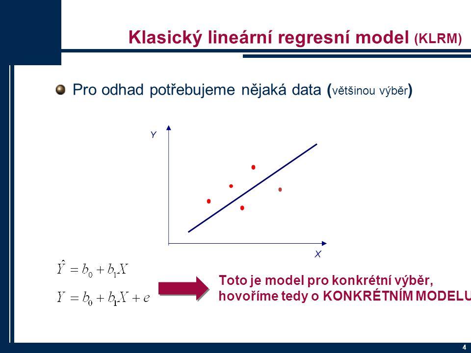 Klasický lineární regresní model (KLRM) Pro odhad potřebujeme nějaká data ( většinou výběr ) 4 Toto je model pro konkrétní výběr, hovoříme tedy o KONK