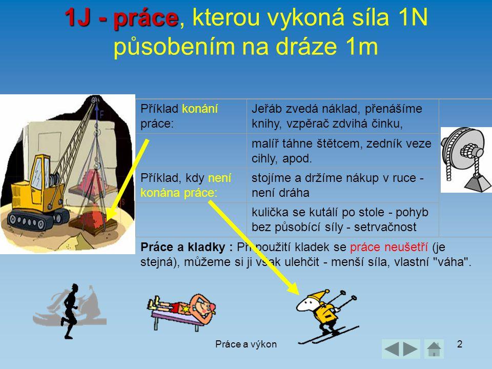 Práce a výkon2 1J - práce 1J - práce, kterou vykoná síla 1N působením na dráze 1m Příklad konání práce: Jeřáb zvedá náklad, přenášíme knihy, vzpěrač z