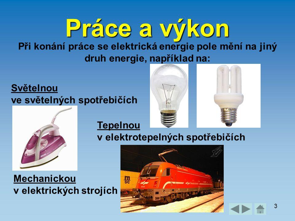 Práce a výkon3 Při konání práce se elektrická energie pole mění na jiný druh energie, například na: Světelnou ve světelných spotřebičích Tepelnou v el