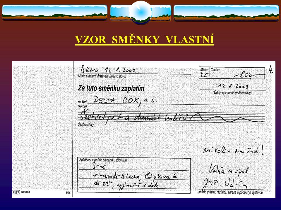 ŠEKY DRUHY ŠEKŮ  Šeky bankovní (vystavuje banka)  Šeky soukromé (vystavuje soukromá osoba)  Cestovní šeky (vytvořeny pro potřeby cestovního ruchu)  Eurošek (modifikovaná forma soukromého šeku)