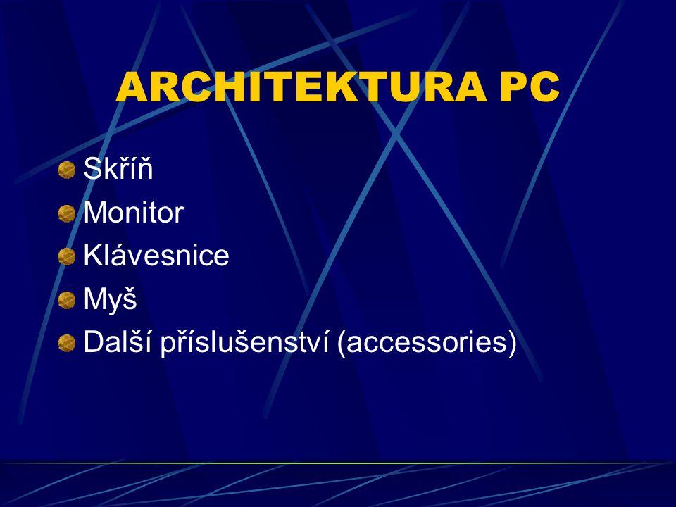 TYPY SKŘÍNÍ Desktop Slimtop Minitower Miditower (middletower) Hightower Notebook, laptop, palmtop