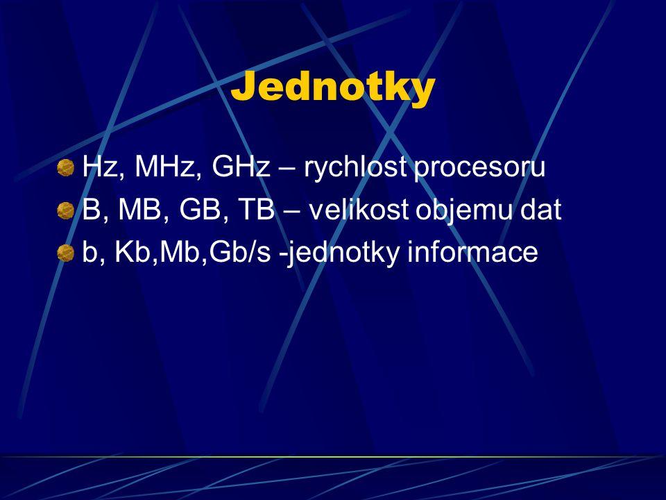 Jednotky Hz, MHz, GHz – rychlost procesoru B, MB, GB, TB – velikost objemu dat b, Kb,Mb,Gb/s -jednotky informace