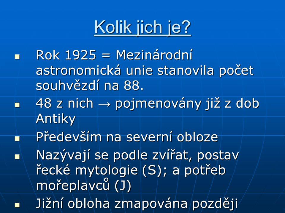 Kolik jich je? Rok 1925 = Mezinárodní astronomická unie stanovila počet souhvězdí na 88. Rok 1925 = Mezinárodní astronomická unie stanovila počet souh