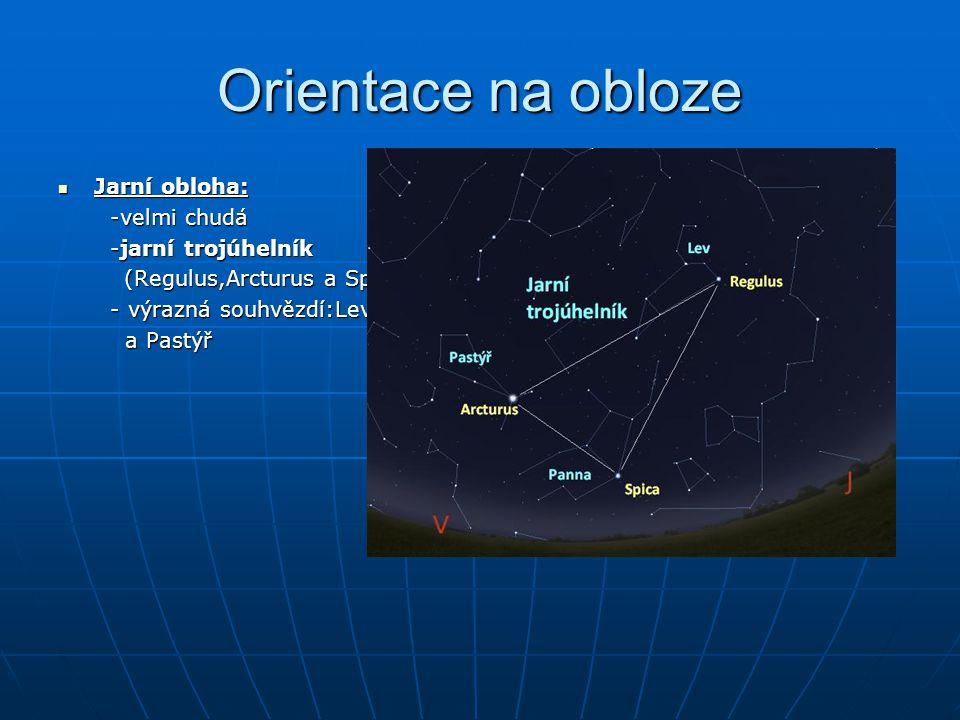Orientace na obloze Jarní obloha: Jarní obloha: -velmi chudá -velmi chudá -jarní trojúhelník -jarní trojúhelník (Regulus,Arcturus a Spica) (Regulus,Ar