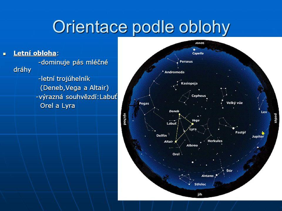 Orientace podle oblohy Letní obloha: Letní obloha: -dominuje pás mléčné dráhy -dominuje pás mléčné dráhy -letní trojúhelník -letní trojúhelník (Deneb,