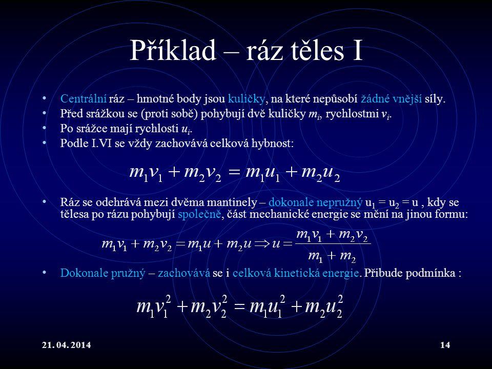 21. 04. 201414 Příklad – ráz těles I Centrální ráz – hmotné body jsou kuličky, na které nepůsobí žádné vnější síly. Před srážkou se (proti sobě) pohyb