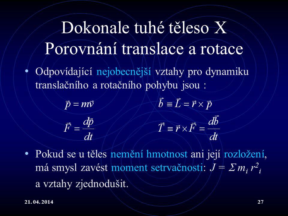 21. 04. 201427 Dokonale tuhé těleso X Porovnání translace a rotace Odpovídající nejobecnější vztahy pro dynamiku translačního a rotačního pohybu jsou