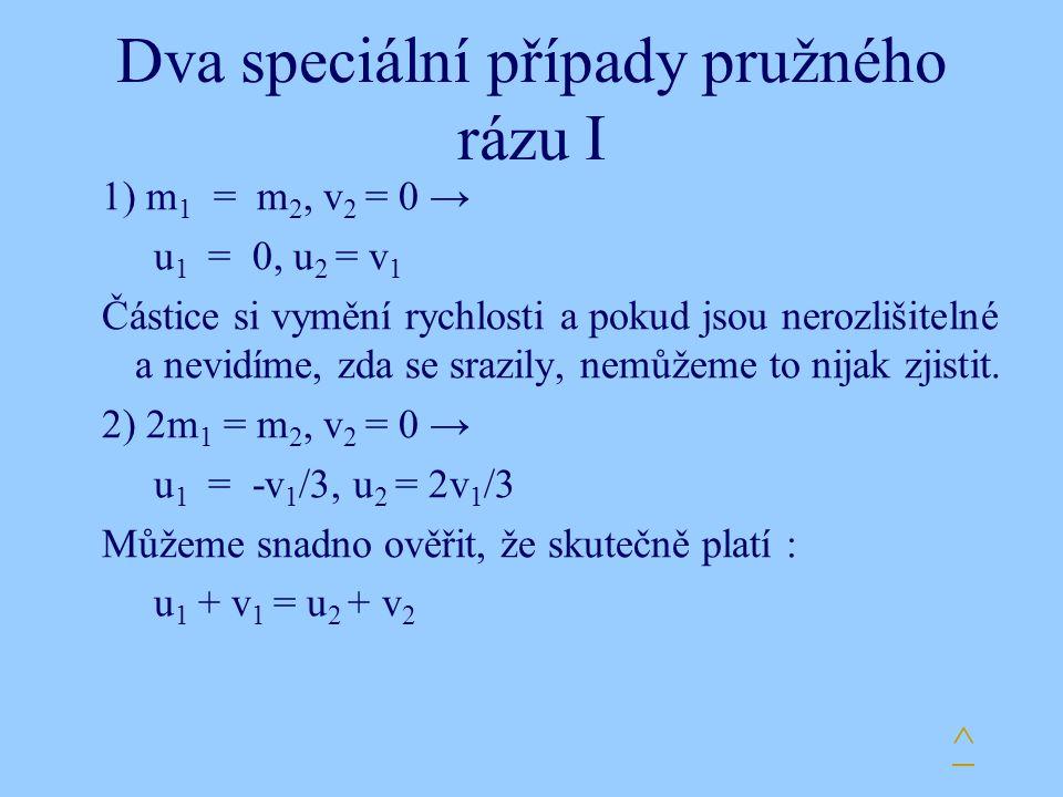 Dva speciální případy pružného rázu I 1) m 1 = m 2, v 2 = 0 → u 1 = 0, u 2 = v 1 Částice si vymění rychlosti a pokud jsou nerozlišitelné a nevidíme, z