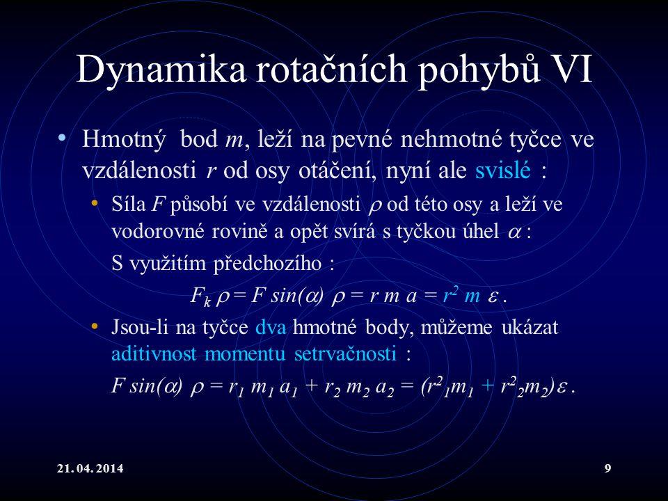 21. 04. 20149 Dynamika rotačních pohybů VI Hmotný bod m, leží na pevné nehmotné tyčce ve vzdálenosti r od osy otáčení, nyní ale svislé : Síla F působí