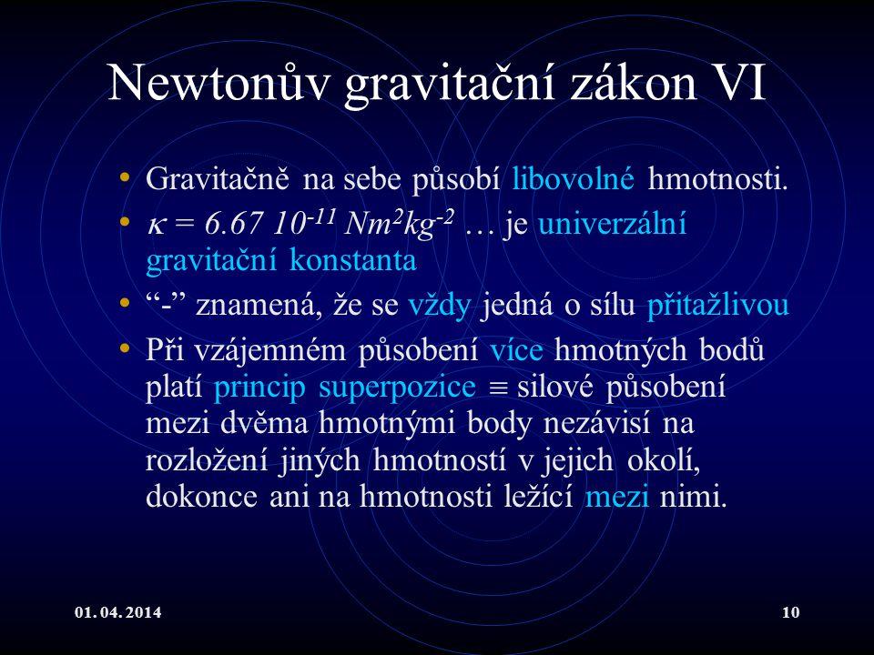 01.04. 201410 Newtonův gravitační zákon VI Gravitačně na sebe působí libovolné hmotnosti.
