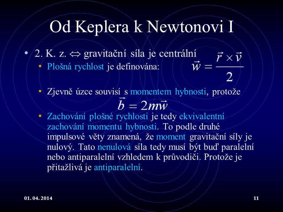 01.04. 201411 Od Keplera k Newtonovi I 2. K. z.