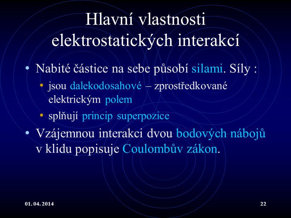 01.04. 201422 Hlavní vlastnosti elektrostatických interakcí Nabité částice na sebe působí silami.