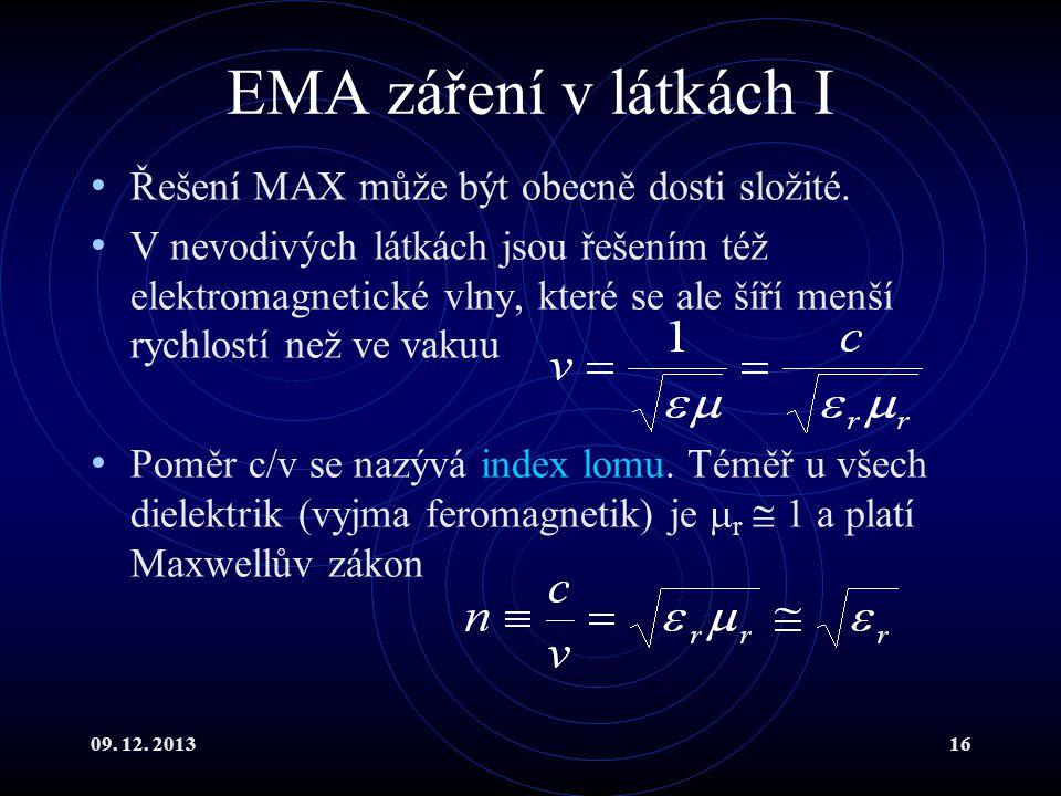 09. 12. 201316 EMA záření v látkách I Řešení MAX může být obecně dosti složité. V nevodivých látkách jsou řešením též elektromagnetické vlny, které se
