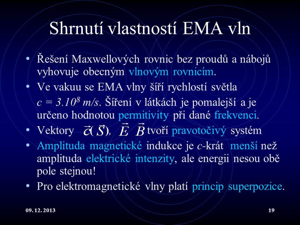 09. 12. 201319 Shrnutí vlastností EMA vln Řešení Maxwellových rovnic bez proudů a nábojů vyhovuje obecným vlnovým rovnicím. Ve vakuu se EMA vlny šíří